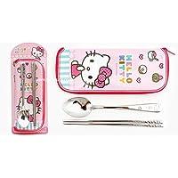 Hello Kitty 儿童筷子、汤匙、袋套套装粉色不锈钢