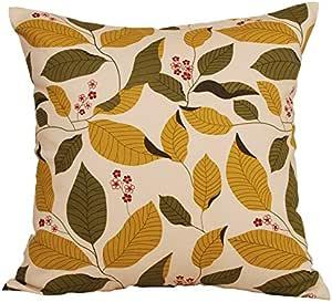 """TangDepot 装饰性手工花卉叶抱枕套/枕套,10 种尺寸可选 Olive Green Leaf 22"""" x 22"""" TPCover-Floral02-22x22OliveGreenLeaf"""
