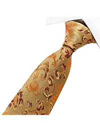 secdtie 男式经典真丝领带龙佩斯利涡旋纹花呢提花梭织派对正式领带