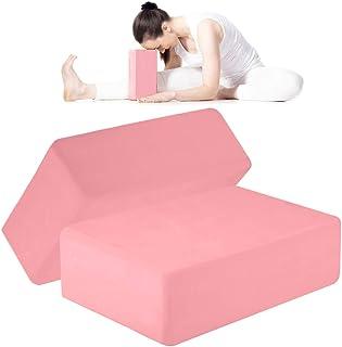 ANJUU 瑜伽砖 2 件装 高* EVA 泡沫块,防滑表面软木瑜伽砖 9 英寸 x 6 英寸 x 3 英寸(约 22.9 厘米 x 15.2 厘米 x 7.6 厘米)环保 EVA 泡沫锻炼砖套装,改善瑜伽/普拉提/冥想的拉伸 - 浅粉色