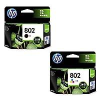 HP 惠普 CH563ZZ 802黑色墨盒+CH564ZZ 802彩色墨盒 适用HP Deskjet 1000 1050 2000 2050(新老包装 随机发货)(亚马逊自营商品,由供应商配送)