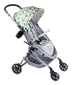 Little Tikes 小泰克 轻便折叠婴儿推车-连接手柄 蓝色方格