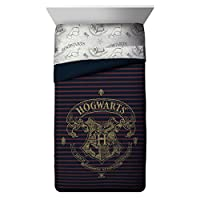 Harry Potter Spellbound Hogwarts Emblem Reversible Twin/Full Comforter with Gold Foil Design