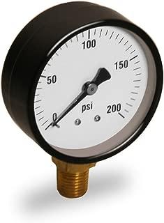 Raven PG2200 R1525 2 英寸显示屏干仪表钢盒,0.64 厘米尖中心背部连接,圆形表盘,聚碳酸酯水晶阳极氧化铝指针,耐用性,200#,黑色