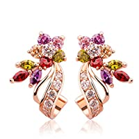 Yellow Chimes Swiss Cubic Zirconia 18K Rose Gold Plated Multi Color Stud Earrings For Women's and Girl's