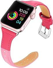Apple Watch Band 皮革 38 42 40 44 38mm/40mm hot rose/pink