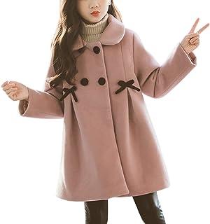 OCHENTA 女童双排扣羊毛夹克翻领连衣裙外套