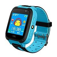 啊谷家 儿童电话手表防水学生手机多功能男孩女孩智能基站定位 (G700-清新蓝)