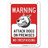Warning Beware of Attack Dogs On Premises No Trespassing 标志 - Dog Does Bite - 25.4 厘米 X 17.78 厘米 - 0.040 无锈重型铝合金 - 美国制造 - 防紫外线,防风雨 - A81-346AL