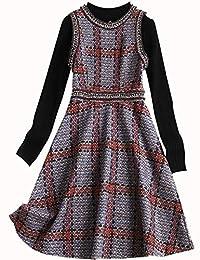 豆鱼之吻 吊带裙女春秋两件套新款气质中长款麂皮绒小香风针织连衣裙 OL6730