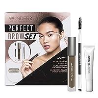WUNDER2 完美画眉套组,包含Wundroww眉胶、Wunder卸妆乳和双头精细眉刷,深褐色