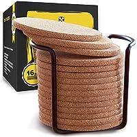 天然软木杯垫,带圆形边缘 4 英寸 16 件套,带金属支架存储盒 - 0.97 cm 厚,吸水,环保,耐热,可重复使用的冷饮杯,杯子和马克杯