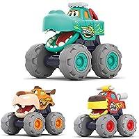MOONTOY Push and Go 婴儿幼儿玩具车适合 1 2 3 岁以上男孩女孩,怪物卡车卡通动物早期教育玩具,回力儿童礼品汽车适合 12 个月以上的儿童