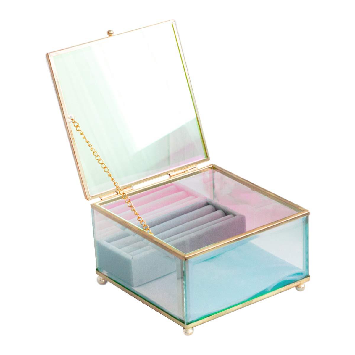 Moosy Life Aurora Borealis 珠宝镜盒带天鹅绒耳环托盘