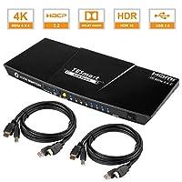 4K@60Hz HDR HDMI 交换机 | 4 端口 KVM 交换机带 60 Hz HDMI | 4x1 多个端口 | 带 USB 支持电缆 | *多控制4台计算机、服务器、DVRs、| 遥控显示器 11.81x4.72x1.18in