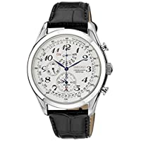 日本名表 Seiko 精工 Men's SPC131P1 Neo Classic Alarm Perpetual Chronograph White Dial Black Leather Strap Watch