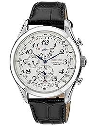 日本名表 Seiko 精工 Men's SPC131P1 Neo Classic Alarm Perpetual Chronograph White Dial Black Leather Strap Watch