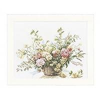 PN-0008004 支十字绣套件 - 带玫瑰的篮子 - 亚麻