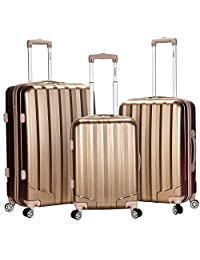 Rockland Luggage 3 Piece Metallic Upright Set