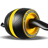 健腹轮回弹腹肌轮男女收腹马甲线锻炼训练器家用女瘦腰减肚子滚轮健身 (黄色)