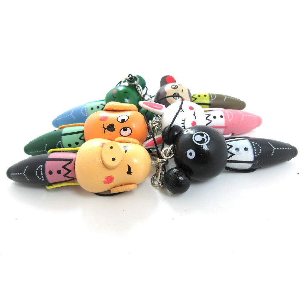 5 件装迷你可爱实木卡*携式圆珠笔钥匙圈适用于钥匙钱包手机或儿童玩具礼物