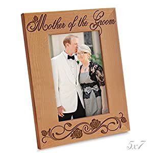 """Bella Busta- Mother of the Groom - Engraved Natural Wood Picture Frame (5"""" x 7"""" Vertical)"""