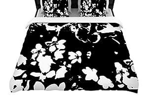 "KESS InHouse 编织羽绒被套 Love Midge""Helena Floral Black""花卉现代编织羽绒被套 68"" X 88"" BB2012ADW01"