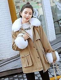 Goralon 2018新款韩版潮羽绒棉服女中长款大狐狸毛领收腰显瘦工装风衣派克服
