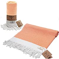 Smyrna 原创土耳其沙滩毛巾 | * 棉,预洗,99.06 x 180.34 厘米 | Peshtemal 和土耳其浴巾,适用于 SPA、海滩、游泳池、健身房和浴室 南瓜 Beige-350421