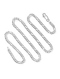 925 纯银 3MM 费加罗链意大利项链 男式和女式龙虾扣 40.64 cm-91.44 cm 银色
