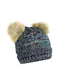 女孩厚实针织纱线羊毛内衬双毛毛皮绒猫耳弹性袖口无檐小便帽 - 熊冬季帽和手套礼品套装