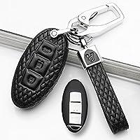 汽车钥匙包钥匙扣保护2018款英菲尼迪Q50L钥匙包QX60钥匙套真皮 B款尾箱款三键 黑色