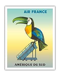 """太平洋岛屿艺术 Amérique Du Sud(南美洲) - 法国 - 图冈 - Jacques Dubois 复古航空旅行海报 c.1956 - 精美艺术印刷品 11"""" x 14"""" APB4281"""