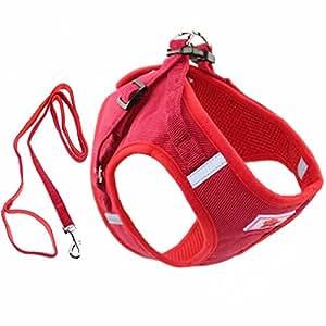 L&Y FuBao *带加垫背心适用于小狗,不拉动和不窒息设计,反光设计,带有一条狗绳的狗狗,小狗*带 红色 M