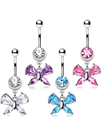 316L Surgical Steel Navel Ring with Small Butterfly Shaped Dangle (Sold Individually) Aqua