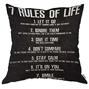 Moslion 抱枕套 7 条生命规则励志引语棉麻靠垫套 适用于沙发/沙发/厨房/汽车/男孩 Gilrs 卧室客厅 45.72 x 45.72 cm 枕套 Multi 01 18X18 inch ANOBIS-QC01