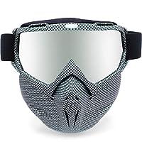 Picador 可拆卸摩托车护目镜,带面具骷髅图案紫外线摩托车眼镜 黑色 黑色 PCD-MOG-SKBK