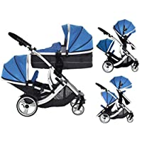 kids kargo Twin Pushchair Tandem 婴儿推车 New-Born Baby Carrycots 推车旅行系统 蓝绿色 Duellette 21 BS Combi