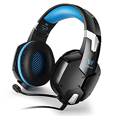 Kotion Each G1200 Over Ear Gaming Headphones with Mic for PC, PS4, PS3, Xbox360, iPhone, iPad, Xiaomi, Samsung, LG (Black/Blue)