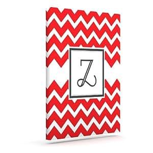 Kess InHouse KESS 原创交织字母 V 形图案红色字母 Z 户外帆布墙壁艺术,20.32 x 25.4 厘米