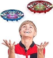 儿童或成人手工操作无人机 - Scoot 免提迷你无人机直升机,简易室内小球形飞行球无人机玩具男孩或女孩 红色和蓝色