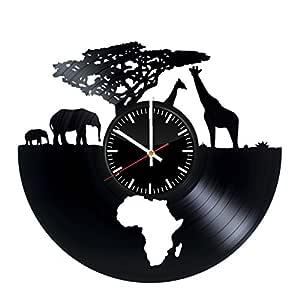 非洲动物时钟 - 非洲 Safari 乙烯基记录挂钟 - 墙艺术房间装饰手工装饰派对用品主题 - 儿童成人男女手工艺品 - 复古和现代风格