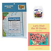 US Wall Map Bundle with Let's Visit The 50 States 旅行日志和推销别针
