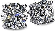 NANA 14K 金 POST & 标准纯银4爪施华洛世奇纯 brilliance 锆石耳钉 CZ 1.0克拉至8.0