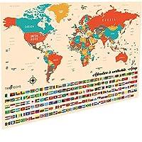 TIROTECHS 划痕地图-划痕地图 XL 33x23 - 划痕世界地图海报 - 学习首都城市 Scratch-Best 世界地图海报 - Scratch-Best 出品,Scratch 出品,适合儿童和旅行者 浅棕色