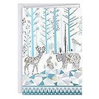 Hallmark 创意盒装圣诞卡,林地生物(16 张卡片和 17 个信封)