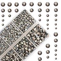 4000 件混合尺寸 Hot fix 圆形水晶宝石玻璃宝石热修复平背水钻 Silver Flare 009