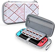 Mumba Deluxe Ulta Slim Hard Shell 任天堂切换旅行箱 - 容纳 10 个游戏盒-粉色大理石