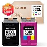 MyToner 再生墨盒适用于 HP 63 XL 63XL 高产量(1 个黑色/1 种彩色)兼容 HP Envy 4520 4512 4516 Officejet 4650 3830 3833 4655 Deskjet 1112 2130 2131 3630 3633 3634