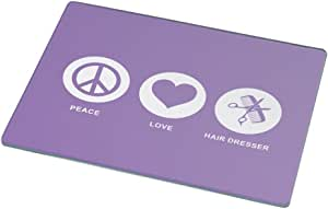 Rikki Knight Peace Love Hair Dresser Violet Color Large Glass Cutting Board